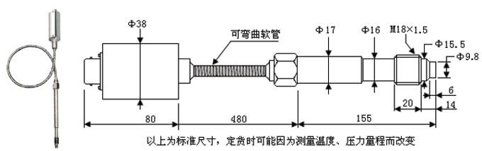 选型信息: NZ-T235A高温压力变送器 传感器探头耐温350,加装散热结构,被测气体或液体在流经散热片后温度降低到理想状态,可测量介质温度在-40~400的气体或液体压力,电路放大器被隔离高温,整体使用环境温度-40~75;电气接口可选择航空接插件、赫斯曼插件、直接密封引线;  NZ-T130A超高温压力变送器 采用高精度耐高温压力传感器元件,通过中间金属细管导压到传感器敏感芯体,细管段在空气中散去大部分热量,使传感器在很好的温度条件下工作;最高介质温度1000 ,使用环境温度70以下,主