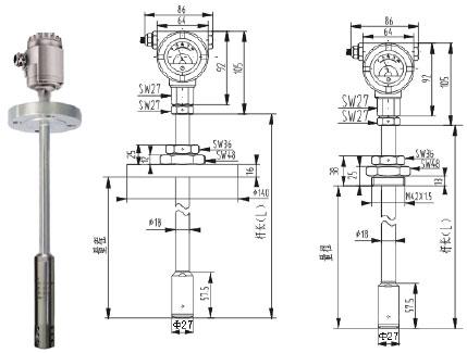 智能液位变送器 探头连接电缆投入式